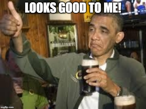 Go Home Obama, You're Drunk | LOOKS GOOD TO ME! | image tagged in go home obama you're drunk | made w/ Imgflip meme maker