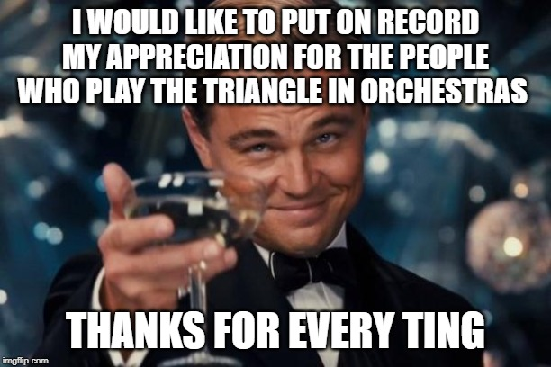 Leonardo Dicaprio Cheers Meme | I WOULD LIKE TO PUT ON RECORD MY APPRECIATION FOR THE PEOPLE WHO PLAY THE TRIANGLE IN ORCHESTRAS THANKS FOR EVERY TING | image tagged in memes,leonardo dicaprio cheers,jokes,music | made w/ Imgflip meme maker