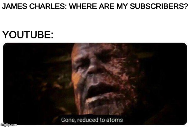 gone reduced to atoms | JAMES CHARLES: WHERE ARE MY SUBSCRIBERS? YOUTUBE: | image tagged in gone reduced to atoms | made w/ Imgflip meme maker