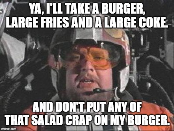 Space Drive Thru | YA, I'LL TAKE A BURGER, LARGE FRIES AND A LARGE COKE. AND DON'T PUT ANY OF THAT SALAD CRAP ON MY BURGER. | image tagged in red leader star wars | made w/ Imgflip meme maker