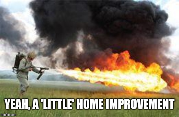 Kill it with fire | YEAH, A 'LITTLE' HOME IMPROVEMENT | image tagged in kill it with fire | made w/ Imgflip meme maker