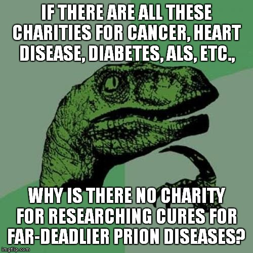 Prion Disease Charities, Please? | IF THERE ARE ALL THESE CHARITIES FOR CANCER, HEART DISEASE, DIABETES, ALS, ETC., WHY IS THERE NO CHARITY FOR RESEARCHING CURES FOR FAR-DEADL | image tagged in memes,philosoraptor,prions,disease,health,healthcare | made w/ Imgflip meme maker