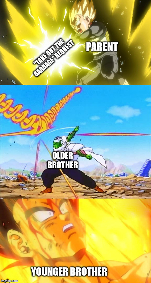 "When the trash bin is full | PARENT ""TAKE OUT THE GARBAGE"" REQUEST OLDER BROTHER YOUNGER BROTHER 