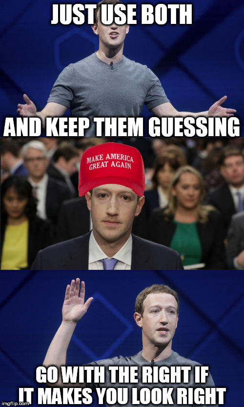 ZuckerDuckBerg | JUST USE BOTH AND KEEP THEM GUESSING GO WITH THE RIGHT IF IT MAKES YOU LOOK RIGHT | image tagged in mark zuckerberg,blank red maga hat | made w/ Imgflip meme maker