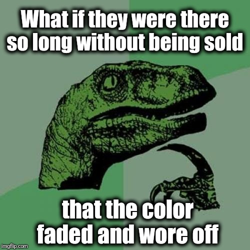 Philosoraptor Meme | What if they were there so long without being sold that the color faded and wore off | image tagged in memes,philosoraptor | made w/ Imgflip meme maker