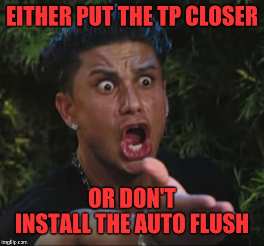 DJ Pauly D Meme | EITHER PUT THE TP CLOSER OR DON'T INSTALL THE AUTO FLUSH | image tagged in memes,dj pauly d | made w/ Imgflip meme maker