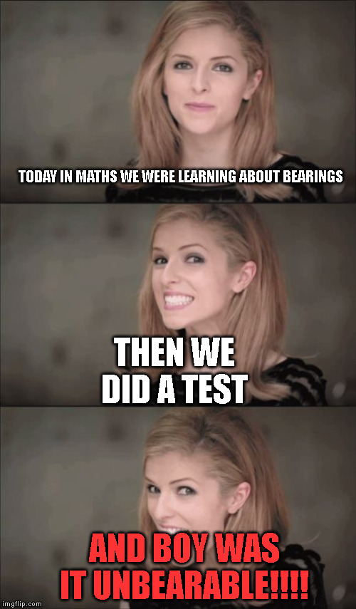 Hehehe.... |  TODAY IN MATHS WE WERE LEARNING ABOUT BEARINGS; THEN WE DID A TEST; AND BOY WAS IT UNBEARABLE!!!! | image tagged in memes,bad pun anna kendrick,math,bearings,math test | made w/ Imgflip meme maker