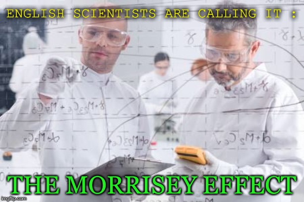 british scientists | ENGLISH SCIENTISTS ARE CALLING IT : THE MORRISEY EFFECT | image tagged in british scientists | made w/ Imgflip meme maker