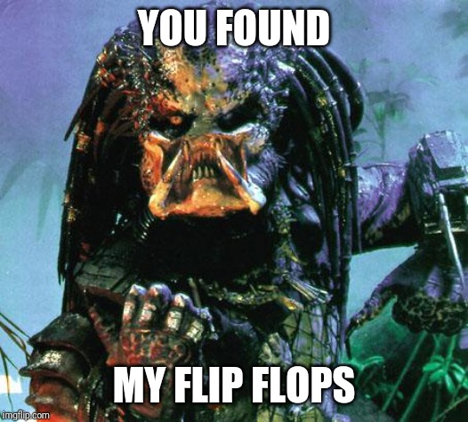 predator | YOU FOUND MY FLIP FLOPS | image tagged in predator | made w/ Imgflip meme maker
