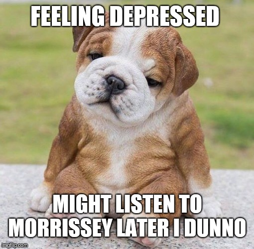 FEELING DEPRESSED MIGHT LISTEN TO MORRISSEY LATER I DUNNO | made w/ Imgflip meme maker