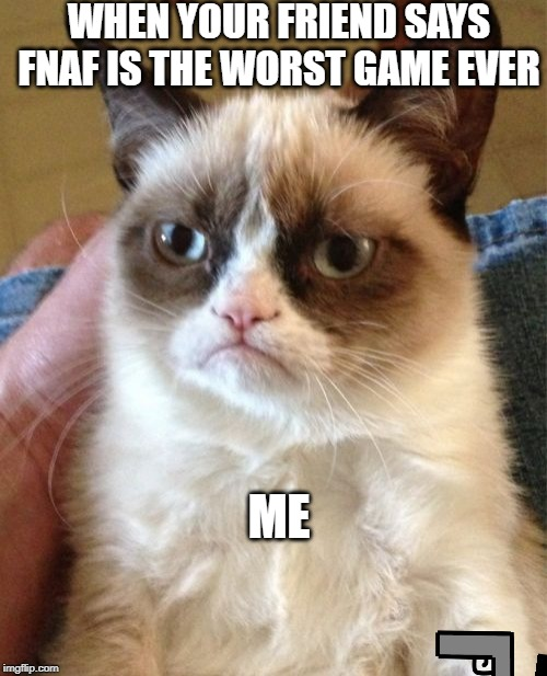 Grumpy Cat | WHEN YOUR FRIEND SAYS FNAF IS THE WORST GAME EVER ME | image tagged in memes,grumpy cat | made w/ Imgflip meme maker