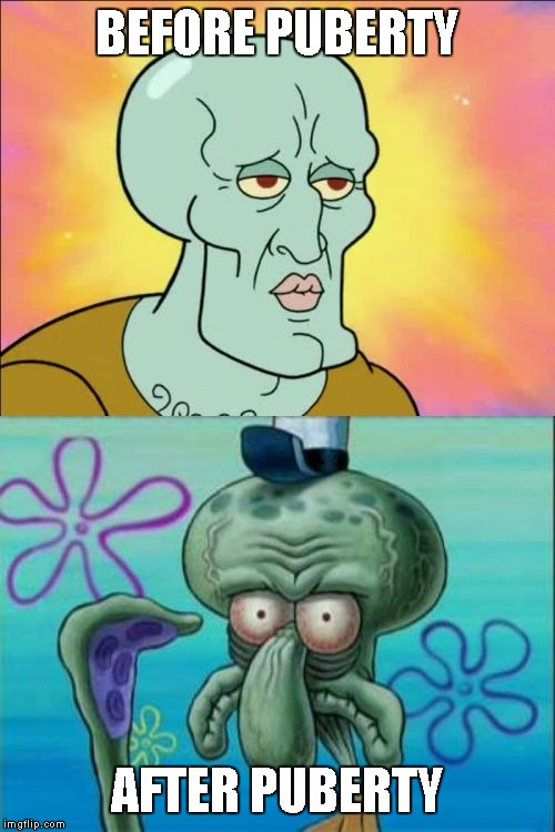 Squidward | BEFORE PUBERTY AFTER PUBERTY | image tagged in memes,squidward | made w/ Imgflip meme maker