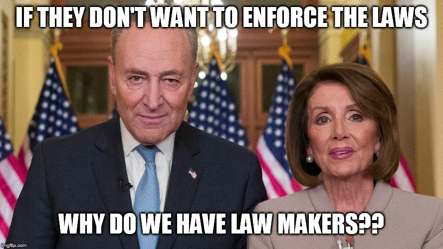 pelosi |  IF THEY DON'T WANT TO ENFORCE THE LAWS; WHY DO WE HAVE LAW MAKERS?? | image tagged in nancy pelosi | made w/ Imgflip meme maker
