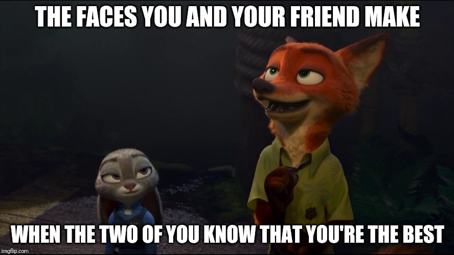 Smugness Intensified - Zootopia edition | THE FACES YOU AND YOUR FRIEND MAKE WHEN THE TWO OF YOU KNOW THAT YOU'RE THE BEST | image tagged in smug nick wilde and judy hopps,zootopia,judy hopps,nick wilde,funny,memes | made w/ Imgflip meme maker