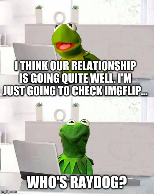 Hide The Pain Kermit | I THINK OUR RELATIONSHIP IS GOING QUITE WELL. I'M JUST GOING TO CHECK IMGFLIP... WHO'S RAYDOG? | image tagged in hide the pain kermit | made w/ Imgflip meme maker