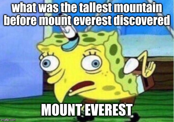Mocking Spongebob | what was the tallest mountain before mount everest discovered MOUNT EVEREST | image tagged in memes,mocking spongebob | made w/ Imgflip meme maker