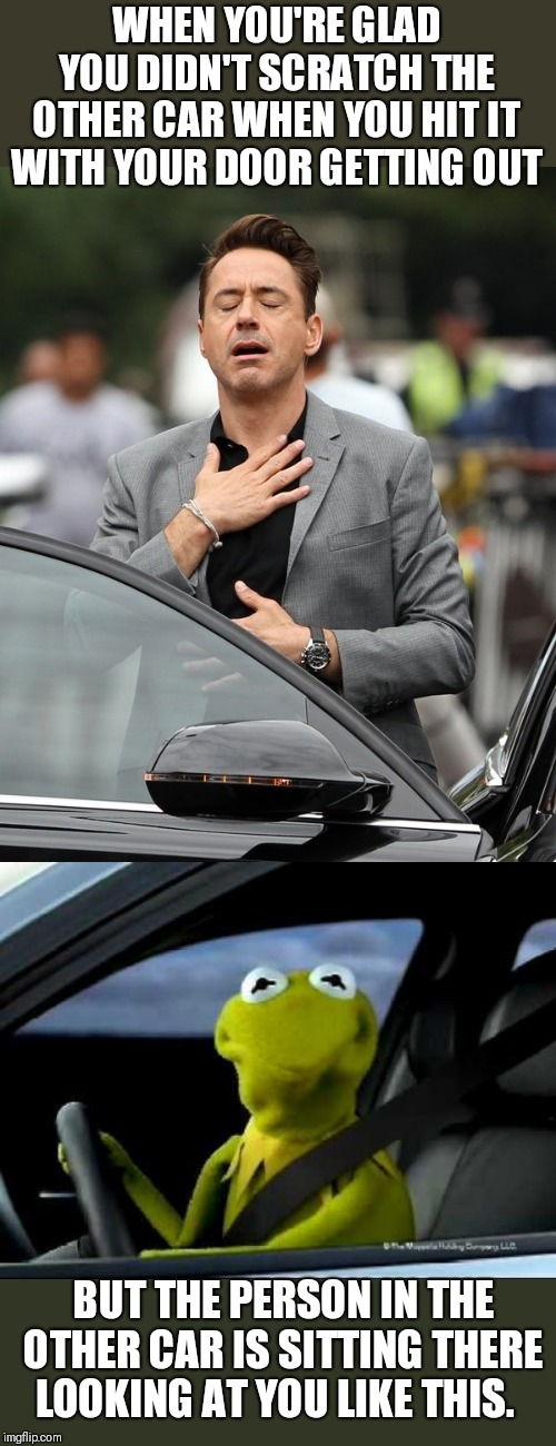 They just sitting there chilling watching me look like a fool. | WHEN YOU'RE GLAD YOU DIDN'T SCRATCH THE OTHER CAR WHEN YOU HIT IT WITH YOUR DOOR GETTING OUT BUT THE PERSON IN THE OTHER CAR IS SITTING THER | image tagged in kermit car,relief,guilt | made w/ Imgflip meme maker