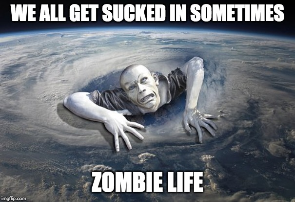 ZOMBIE | WE ALL GET SUCKED IN SOMETIMES ZOMBIE LIFE | image tagged in zombie | made w/ Imgflip meme maker