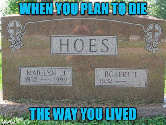 Live up to your name!!! | WHEN YOU PLAN TO DIE THE WAY YOU LIVED | image tagged in funny tombstones,memes,planning ahead,funny,gravestone,what's in a name | made w/ Imgflip meme maker