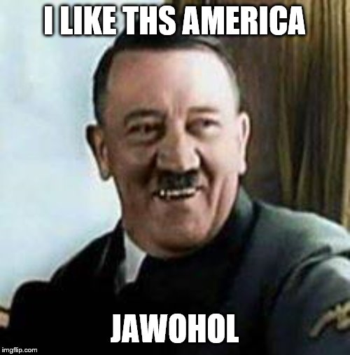 I LIKE THS AMERICA JAWOHOL | image tagged in laughing hitler | made w/ Imgflip meme maker