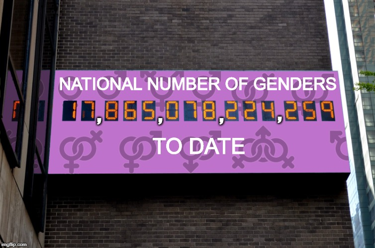 NATIONAL NUMBER OF GENDERS TO DATE ,             ,             , , | image tagged in national genders board | made w/ Imgflip meme maker