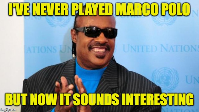 stevie wonder | I'VE NEVER PLAYED MARCO POLO BUT NOW IT SOUNDS INTERESTING | image tagged in stevie wonder | made w/ Imgflip meme maker