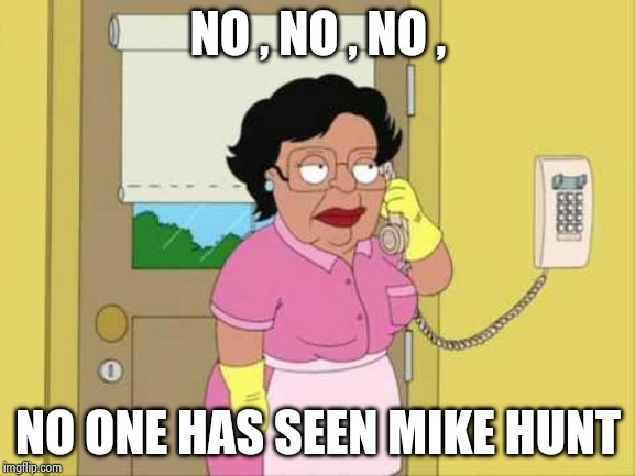 Consuela Meme | NO , NO , NO , NO ONE HAS SEEN MIKE HUNT | image tagged in memes,consuela | made w/ Imgflip meme maker