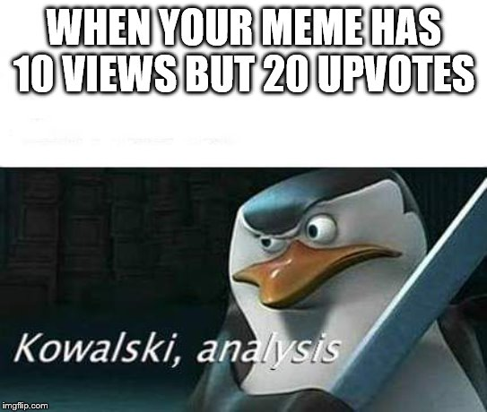 this happened once to everybidy | WHEN YOUR MEME HAS 10 VIEWS BUT 20 UPVOTES | image tagged in kowalski analysis | made w/ Imgflip meme maker