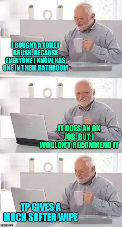 Harold: Roughing It |  I BOUGHT A TOILET BRUSH, BECAUSE EVERYONE I KNOW HAS ONE IN THEIR BATHROOM; IT DOES AN OK JOB, BUT I WOULDN'T RECOMMEND IT; TP GIVES A MUCH SOFTER WIPE | image tagged in on second thought harold,memes,tp,why hello there,deuce,toilet humor | made w/ Imgflip meme maker