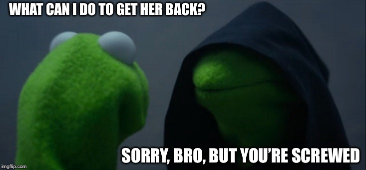 Evil Kermit Meme | WHAT CAN I DO TO GET HER BACK? SORRY, BRO, BUT YOU'RE SCREWED | image tagged in memes,evil kermit | made w/ Imgflip meme maker