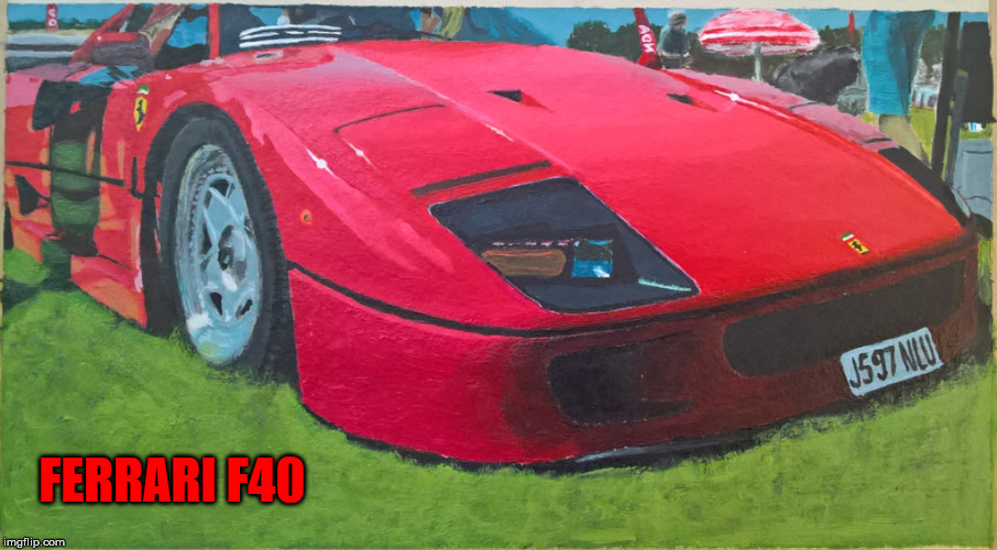 Ferrari F40 by TigerLegend1046 (me) - DeviantArt Week 2, a TigerLegend1046 and Raydog event |  FERRARI F40 | image tagged in art,deviantart week,ferrari,tigerlegend1046,bad luck raydog,painting | made w/ Imgflip meme maker
