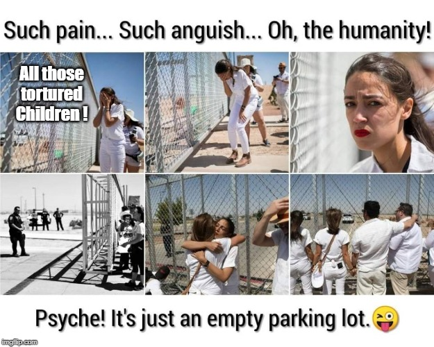 AOC Fake snowflake tears | All those tortured Children ! | image tagged in aoc,concentration camps | made w/ Imgflip meme maker