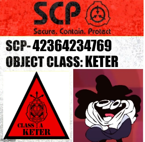SCP Sign Generator | 42364234769 KETER | image tagged in scp sign generator | made w/ Imgflip meme maker