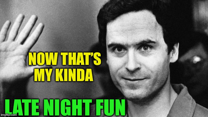 ted bundy greeting | NOW THAT'S MY KINDA LATE NIGHT FUN | image tagged in ted bundy greeting | made w/ Imgflip meme maker