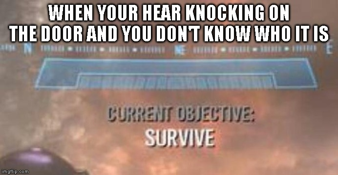 Current Objective: Survive | WHEN YOUR HEAR KNOCKING ON THE DOOR AND YOU DON'T KNOW WHO IT IS | image tagged in current objective survive,spooky | made w/ Imgflip meme maker