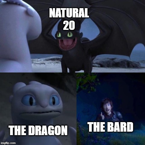 Toothless presents himself | NATURAL 20 THE DRAGON THE BARD | image tagged in toothless presents himself,dungeons and dragons,dnd | made w/ Imgflip meme maker