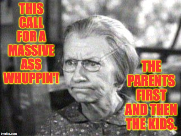 Granny Clampett | THIS CALL FOR A MASSIVE ASS WHUPPIN'! THE PARENTS FIRST AND THEN THE KIDS. | image tagged in granny clampett | made w/ Imgflip meme maker