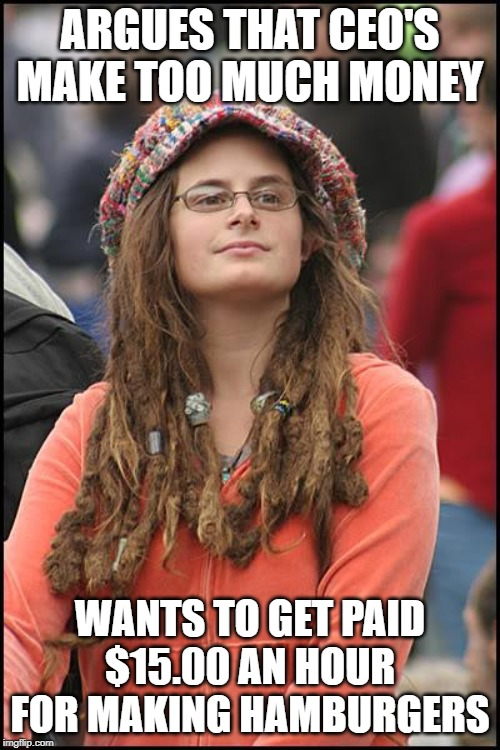 Reverse Psychology... | ARGUES THAT CEO'S MAKE TOO MUCH MONEY WANTS TO GET PAID $15.00 AN HOUR FOR MAKING HAMBURGERS | image tagged in minimum wage,living wage | made w/ Imgflip meme maker