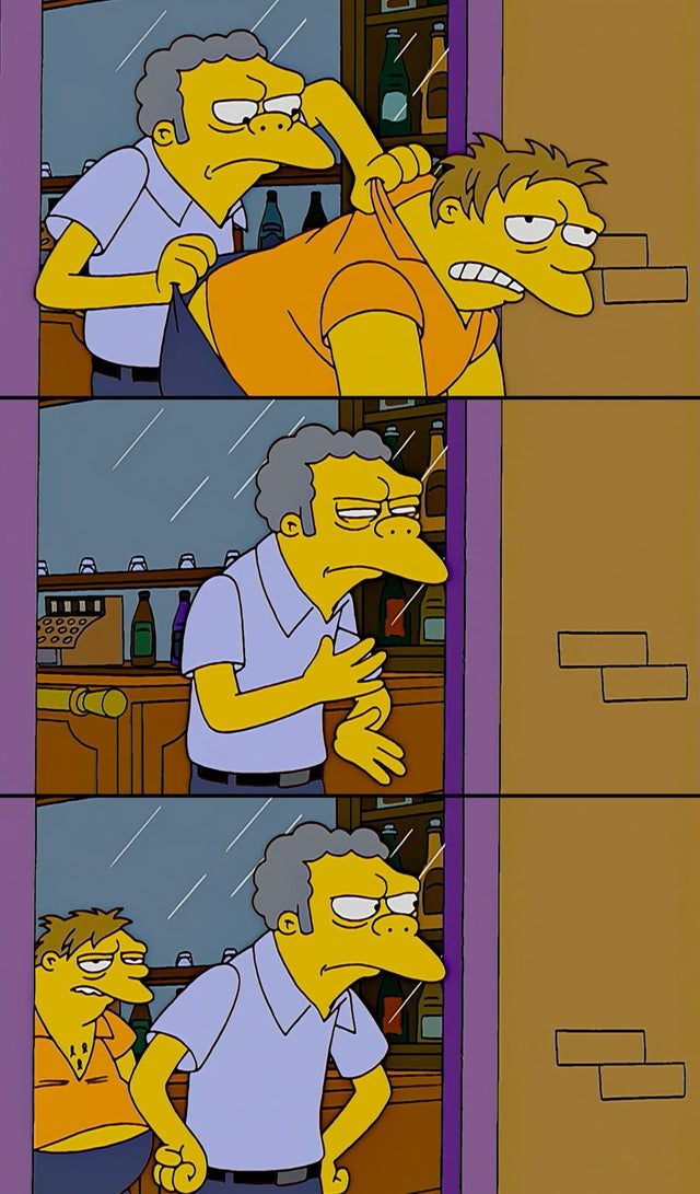 Moe throws Barney Blank Meme Template