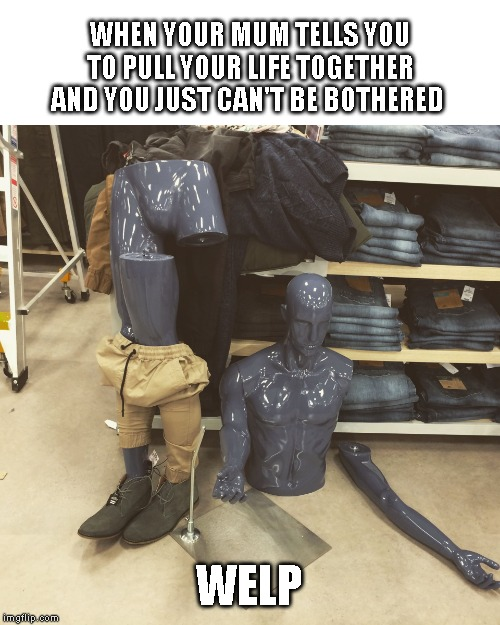Mannequin | WHEN YOUR MUM TELLS YOU TO PULL YOUR LIFE TOGETHER AND YOU JUST CAN'T BE BOTHERED WELP | image tagged in mannequin | made w/ Imgflip meme maker
