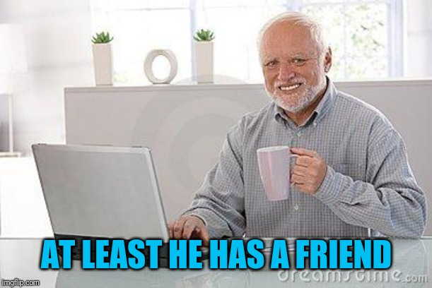 Hide the pain harold smile | AT LEAST HE HAS A FRIEND | image tagged in hide the pain harold smile | made w/ Imgflip meme maker