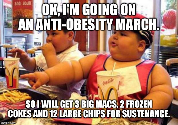 OK, I'M GOING ON AN ANTI-OBESITY MARCH. SO I WILL GET 3 BIG MACS, 2 FROZEN COKES AND 12 LARGE CHIPS FOR SUSTENANCE. | image tagged in mcdonald's fat boy | made w/ Imgflip meme maker