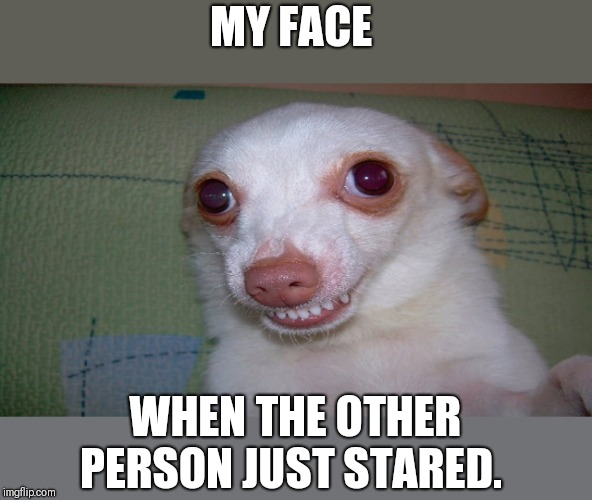 embarrassed grin | MY FACE WHEN THE OTHER PERSON JUST STARED. | image tagged in embarrassed grin | made w/ Imgflip meme maker