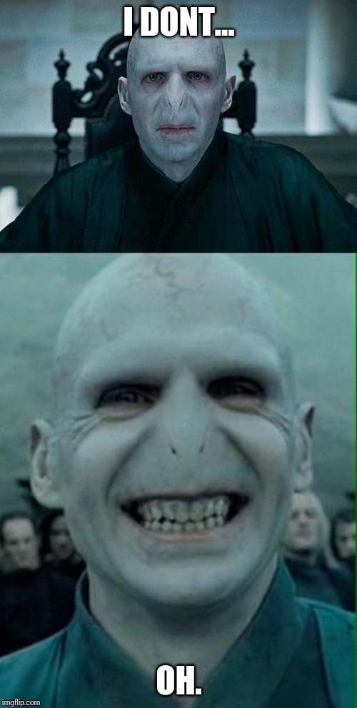 I DONT... OH. | image tagged in voldemort grin,lord voldemort | made w/ Imgflip meme maker