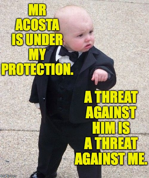 Baby Godfather Meme | MR ACOSTA IS UNDER MY PROTECTION. A THREAT AGAINST HIM IS A THREAT AGAINST ME. | image tagged in memes,baby godfather | made w/ Imgflip meme maker