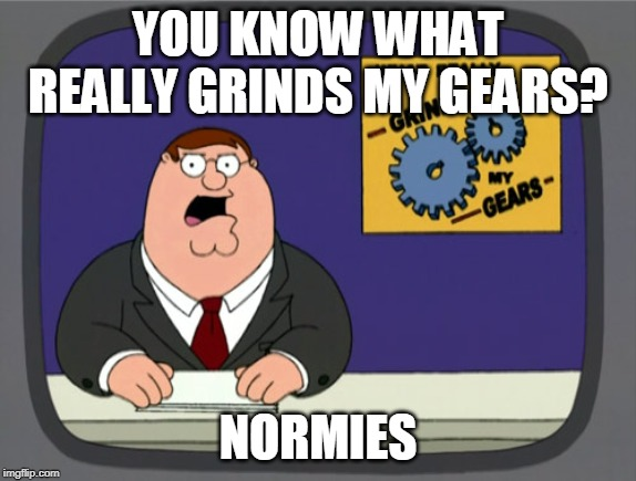 YOU KNOW WHAT REALLY GRINDS MY GEARS? NORMIES | image tagged in memes,peter griffin news | made w/ Imgflip meme maker