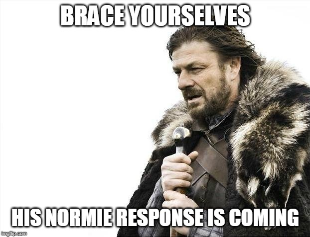 BRACE YOURSELVES HIS NORMIE RESPONSE IS COMING | image tagged in memes,brace yourselves x is coming | made w/ Imgflip meme maker