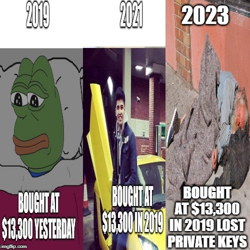 Three types of bitcoin investors. | 2023 BOUGHT AT $13,300 IN 2019 LOST PRIVATE KEYS | image tagged in bitcoin | made w/ Imgflip meme maker