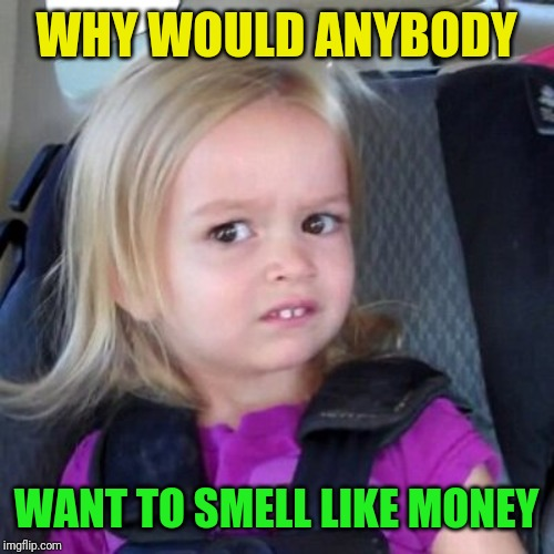 Wait whut | WHY WOULD ANYBODY WANT TO SMELL LIKE MONEY | image tagged in wait whut | made w/ Imgflip meme maker