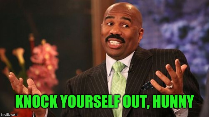 Steve Harvey Meme | KNOCK YOURSELF OUT, HUNNY | image tagged in memes,steve harvey | made w/ Imgflip meme maker